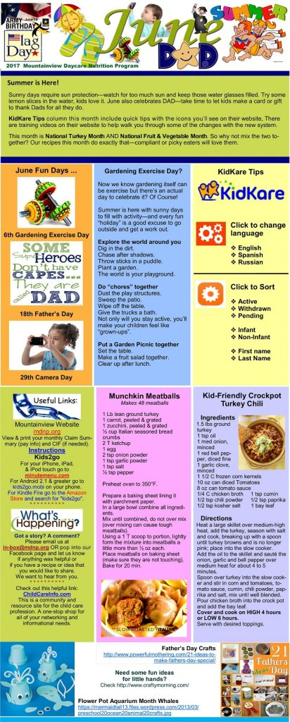 Newsletters – MountainView Daycare and Nutrition
